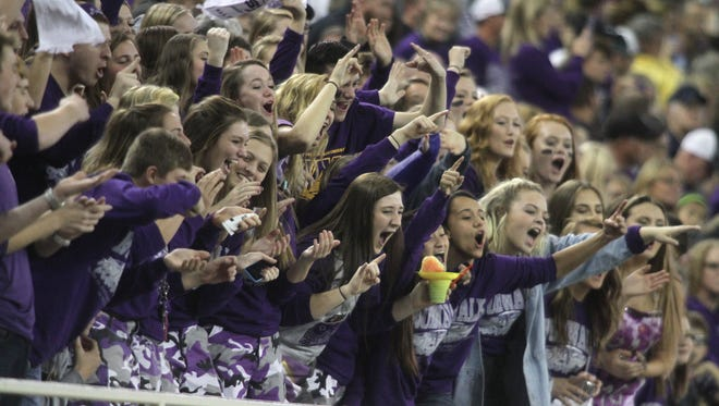 Norwalk fans cheer for the Warriors. Norwalk defeated Sergeant Bluff-Luton 35-7 at the UNI-Dome in Cedar Falls on Nov. 12 to advance to the Class 3-A championship game.