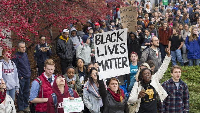 """SIMON WHEELER / Ithaca Journal A protest Wednesday at Ithaca College drew at least a thousand students who took part in a ?Solidarity Walk Out.? A protest Wednesday at Ithaca College drew at least a thousand students who took part in a """"Solidarity Walk Out."""""""
