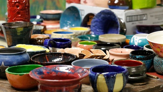 Ceramic bowls made by St. Mary's Springs students will be used at the Empty Bowls fundraiser Dec. 2 at Retlaw Hotel.