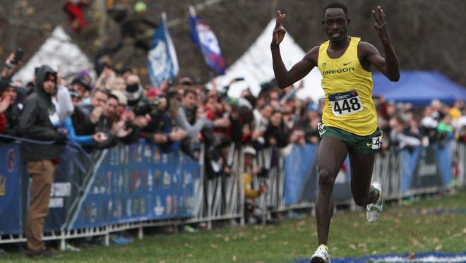 Oregon junior, Edward Cheserek, celebrates before crosses the finish line during the NCAA Cross Country Championships on Nov. 21, 2015, at E.P. Tom Sawyer State Park in Louisville, Ky. Cheserek placed first in the Men's 10K Run with a time of 28:45.8.