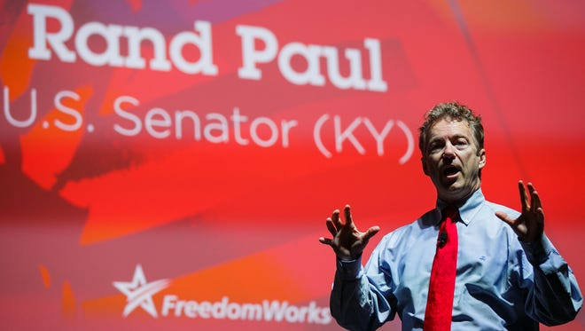 Republican presidential candidate Rand Paul speaks during the Rising Tide Summit at The U.S. Cellular Center on Saturday, December 05, 2015 in Cedar Rapids.