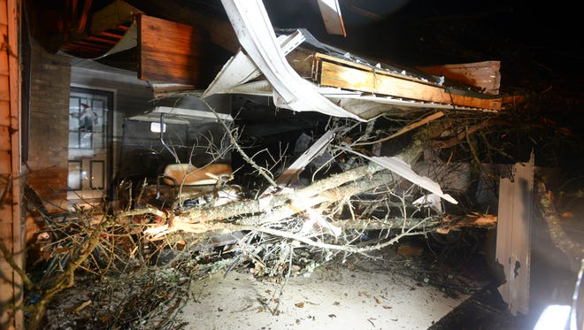 High winds caused major damage on Falcon Road near Selmer as storms passed through West Tennessee on Wednesday.