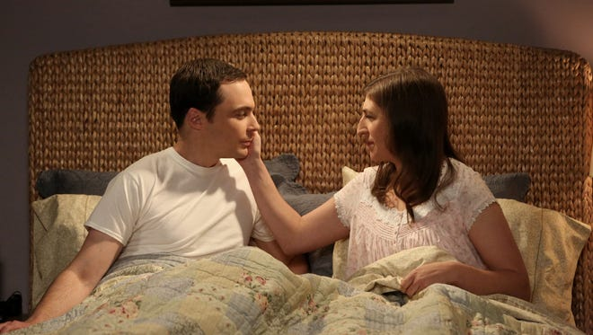 Mayim Bialik, right, as Amy, and Jim Parsons as Sheldon in scene from 'The Big Bang Theory' season 9 finale.