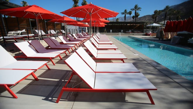 Beach lounge chairs are set out poolside at Hacienda Cantina & Beach Club in Palm Springs. City officials have begun the process to recoup a $250,000 loan since the restaurant closed in November 2015.