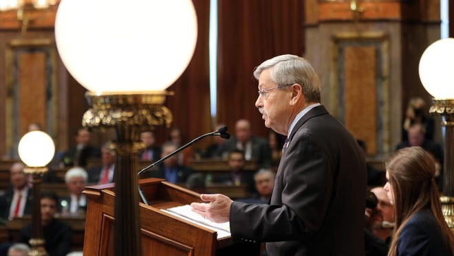 Iowa Gov. Terry Branstad gives the annual Condition of the State address at the Iowa Capitol on Tuesday, Jan. 12, 2016, in Des Moines.