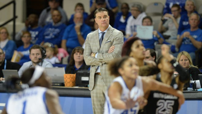 UK head coach Matthew Mitchell watches game action during the University of Kentucky womens basketball game against South Carolina at Memorial Coliseum in Lexington, Ky., on Thursday, January 14, 2015.