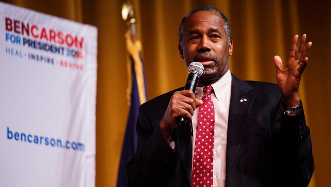Republican presidential candidate Ben Carson speaks at Glenwood Community High School on Thursday, Jan. 21, 2016, in Glenwood.