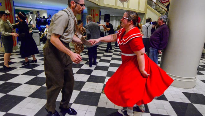 Rob and Pam Rubisch of Hagerstown MD, dance to the Unforgettable Big Band during Swing at the Market Street Canteen, Thursday January 21, 2016 at the York Heritage Trust. (John A. Pavoncello - The York Dispatch)