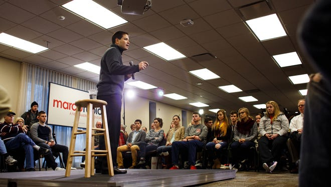 Republican presidential candidate Marco Rubio speaks during a campaign stop at Central College in Pella on Tuesday, Jan. 26, 2016.
