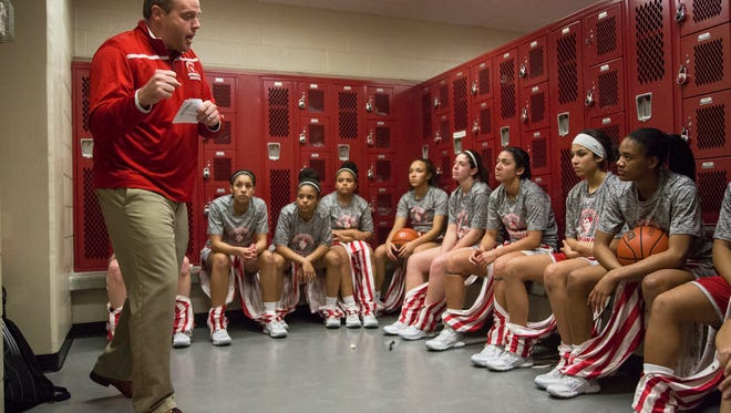 Jeffersonville head coach Mike Warren guides his team in the locker room before taking on New Albany, Wednesday, Jan. 27, 2016, at New Albany High School in New Albany, In.