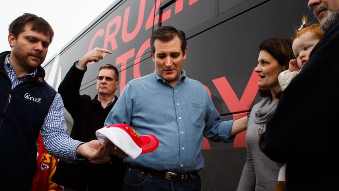 Republican presidential candidate Ted Cruz greets supporters during a campaign event at Darrell's Place on Saturday, Jan. 30, 2016, in Hamlin.