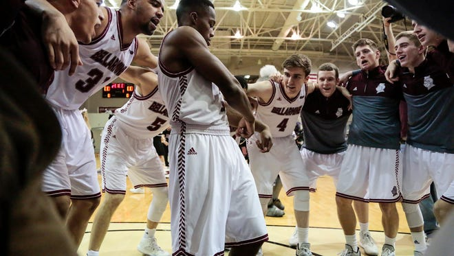 Bellarmine's Al Davis (3) hypes his team before playing University of Indianapolis, Sat., Jan. 30, 2016, at Bellarmine's Knights Hall in Louisville, Ky.