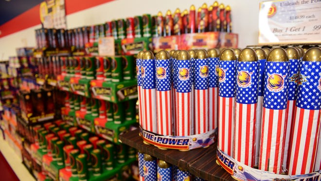 None of the fireworks shown can be purchased by patrons with Pennsylvania identification at Keystone Fireworks, Greencastle. State legislature is considering a bill to allow Pennsylvanians to buy roman candles, etc. and other previously banned fireworks in state.