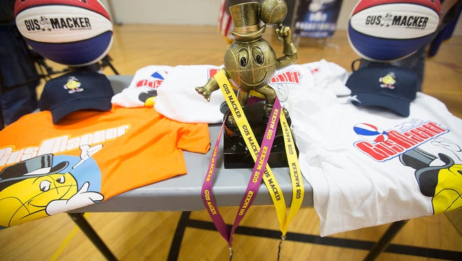 Mayor Mike Wiza announces that the Gus Macker tournament will take place in Stevens Point for the next three years during a press conference at Stevens Point Parks, Recreation and Forestry, Friday, March 18, 2016.