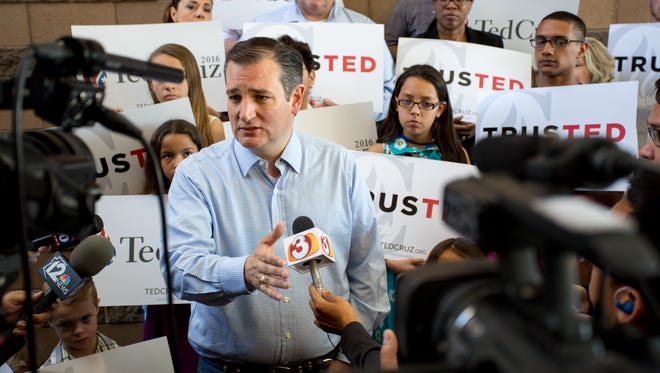Republican presidential candidate Ted Cruz speaks to the media at Fresh Start Church on Sunday, Mar. 20, 2016 in Peoria, Ariz.