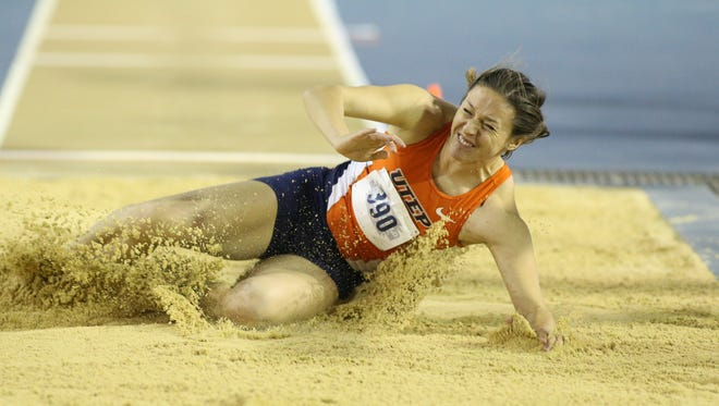 Lucia Mokrasova competes in the long jump.