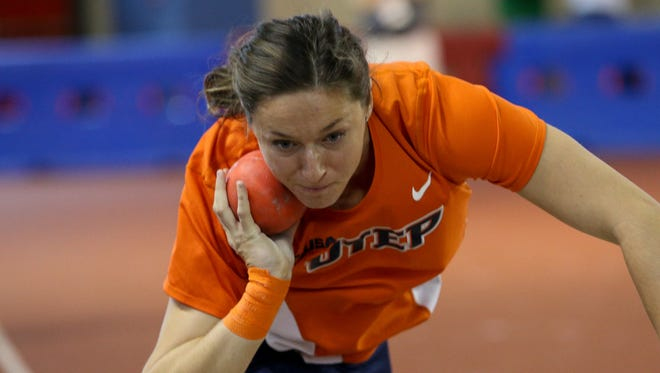 Lucia Mokrasova competes in the shot put