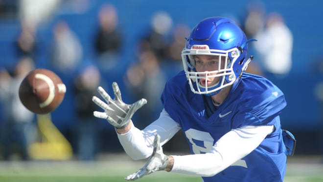 WR Dakota Holtzclaw makes a catch during the UK spring football practice at Commonwealth Stadium in Lexington, Ky., on Saturday, March 26th, 2016. Photo by Mike Weaver
