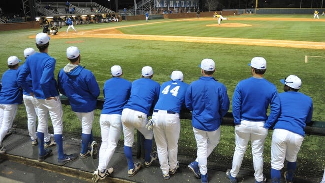 Players watch the UK baseball game against Northern Kentucky University at Cliff Hagan Stadium in Lexington, Ky., on Tuesday, March 29th, 2016.