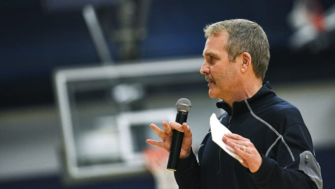 Augustana head basketball coach Tom Billeter speaks during a National Championship celebration for the Augustana University men's basketball team Tuesday, March 29, 2016, at the Augustana University Elemen Center in Sioux Falls. Augustana beat Lincoln Memorial 90 to 81 in the NCAA Division II national championship on Saturday, March 26, in Frisco, Texas. Augustana's 2016 Division II national championship win was the program's first.