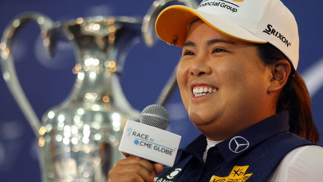 2013 winner Inbee Park answers media questions during a press conference Wednesday, March 30, 2016, at Mission Hills Country Club in Rancho Mirage, Calif.