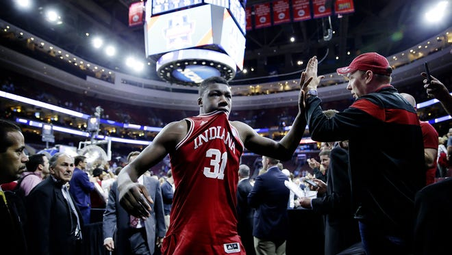 With tears in his eyes, Indiana Hoosiers center Thomas Bryant (31) makes his way off the court after the teams loss to the North Carolina Tar Heels at the Wells Fargo Center on March 25, 2016.