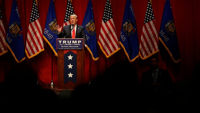 Republican presidential candidate Donald Trump speaks during his campaign stop at St. Norbert College in De Pere on Wednesday, March 30, 2016.
