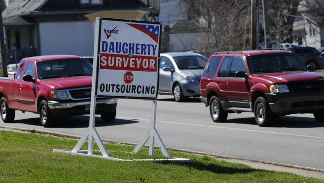 Daugherty for Surveyor signs Thursday, March 17, 2016, at Abstract Technology Creatives Theory, 1800 Union Street in Lafayette.