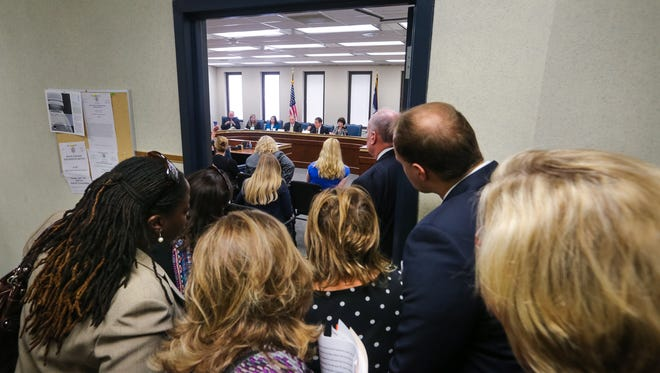 A crowd in the hall listen to testimony during a Senate subcommittee to consider the controversial bill that would ban transgender people from choosing the bathroom they use.  4/13/16