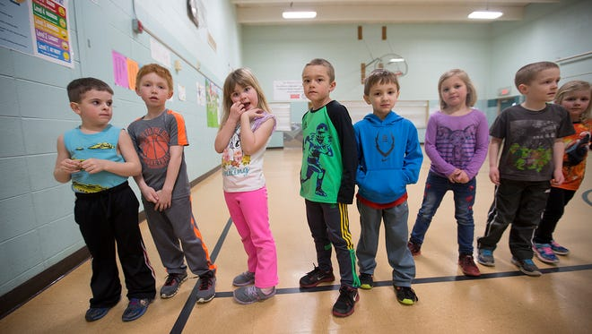 Kindergarteners line-up after finishing their physical education class at THINK Academy Charter in Rudolph, Thursday, April 14, 2016. The charter will be dissolved, but the school will continue to operate in the Wisconsin Rapids Public School District.