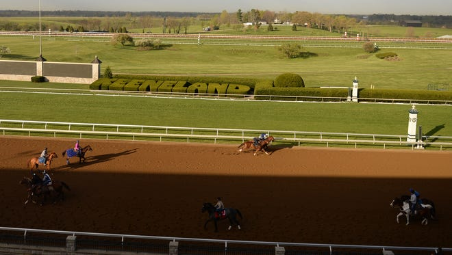 Morning workouts at Keeneland Race Course in Lexington, Ky., on Friday, April 15, 2016. Photo by Mike Weaver