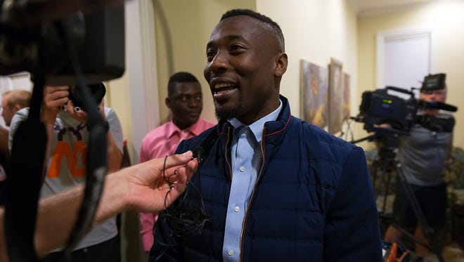 Immokalee High School graduate and Clemson cornerback Mackensie Alexander gives media interviews after arriving at a NFL Draft party at the Knickerbocker in Golden Gate Estates on Thursday, April 28, 2016. (David Albers/Staff)