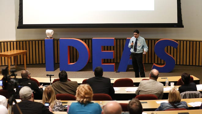 Ian Homan, of Waupun High School, pitched his business idea last month to a panel of judges at the Ignite! Youth Idea Challenge at the Marian University Stayer Center in Fond du Lac.