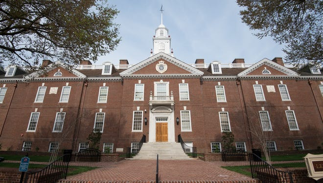 Legislative Hall in Dover is shown on April 21. An expected decline in corporate tax revenue could impact the state's budget.