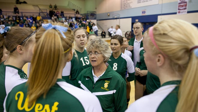 "West High coach Kathy Bresnahan, seen here in a file photo, will be portrayed by Helen Hunt in the film ""Live Like Line."""