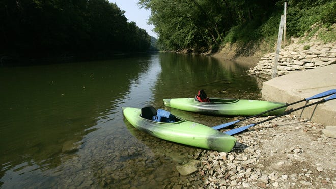 Canoes sat low in the water on Green River in Mammoth Cave National Park in 2005.