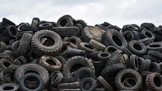 A pile of tires, Friday, May 13, 2016, at the Sioux Falls Sanitary Landfill west of Sioux Falls. The South Dakota Department of Environment and Natural Resources is trying to reduce the chances the mosquito-carried Zika virus shows up here by working with local landfills, including the Sioux Falls Sanitary Landfill, to prevent water from pooling in discarded tires.