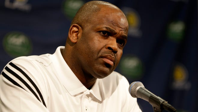 After being announced as the Indiana Pacers' new head coach by Larry Bird, President of Basketball Operations, Nate McMillan speaks to media during a press conference at Bankers Life Fieldhouse on May 16, 2016.