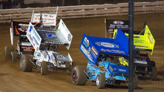 Lance Dewease,driving the No. 69 car, won his heat and the feature race during the World of Outlaws race at Williams Grove Speedway on Friday.