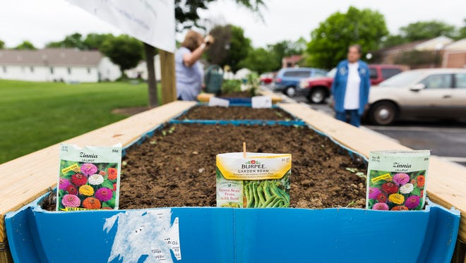 Seed packets mark the locations of Pat Barnhart's plants in an elevated garden as part of the Hanover Community Gardens on Thursday at the Clearview Terrace Apartments in Hanover. Barnhart is growing radishes, green beans, and Zinnia flowers.