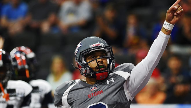 The Sioux Falls Storm's Lorenzo Brown (8) reacts after rushing with the ball during a game against the Colorado Crush Saturday, June 4, 2016, at the Denny Sanford Premier Center in Sioux Falls.