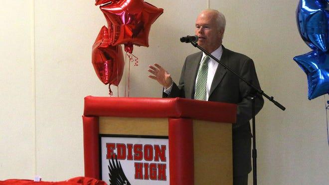 Senator Patrick J. Diegnan, 18th legislative district, speaks during a GMC Baseball press conference at Edison High School on Wednesday night.