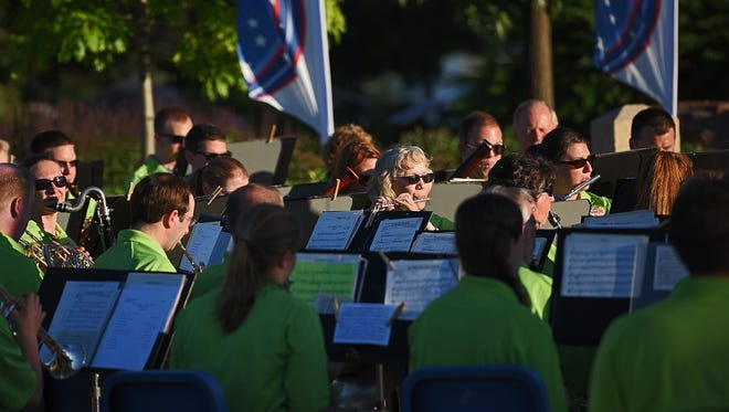 The Sioux Falls Municipal Band performs during a Flag Day Celebration Tuesday, June 14, 2016, at Veterans' Memorial Park in Sioux Falls.