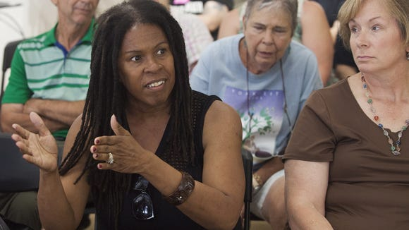 York resident Sharon Friend, left, speaks during the