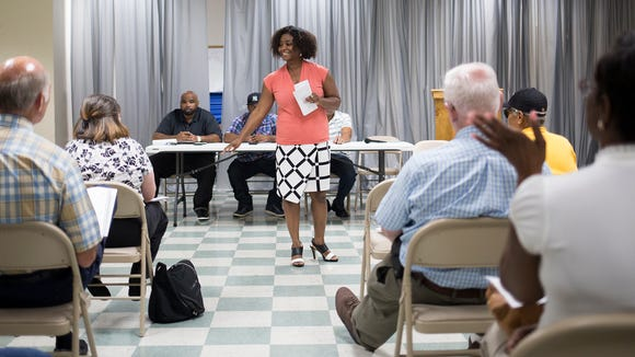 Sandra Thompson, president of the NAACP's York chapter, hosts a recent panel discussion on the needs of the York community, at Crispus Attucks Community Center.