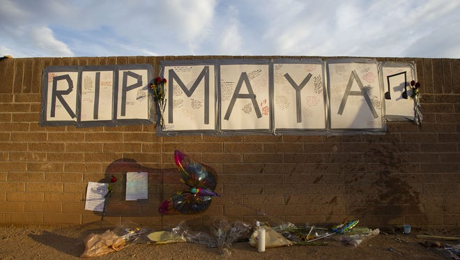 Mementos are pictured at a memorial for Horizon High School's Marrio Golden and Maya Schulder on Wednesday, June 29, 2016, at Phoenix Horizon High School. Golden and Shulder are the second and third Horizon students or recent graduates to die in June 2016.