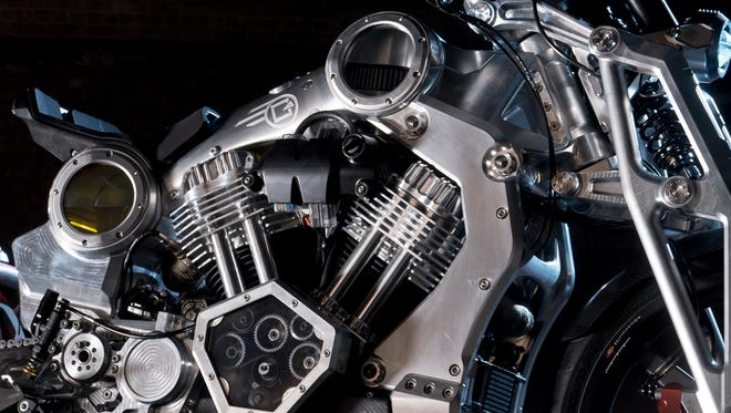 A close-up of a Confederate Motors motorcycle.