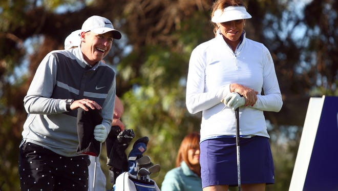 Abby Wambach, left, shown in March with Caitlin Jenner during an LPGA Pro-Am in Rancho Mirage, California.
