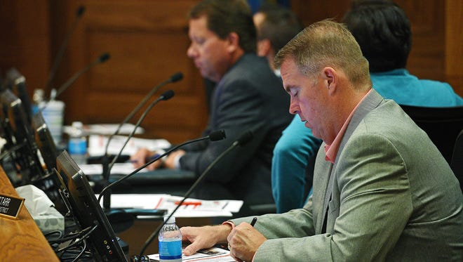 Sioux Falls City Council Member Pat Starr follows along as Sioux Falls Mayor Mike Huether delivers his 2017 Budget Address Tuesday, July 26, 2016, at Carnegie Town Hall in downtown Sioux Falls.