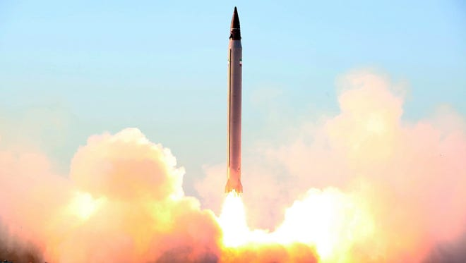 This undated picture released on Oct.11, 2015, by the Iranian Defence Ministry on their website reportedly shows the launch of an Imad missile during tests at an undisclosed location in Iran. Iran announced it had successfully tested the new domestically produced long-range Imad missile, which it said was the first that could be guided all the way to targets.